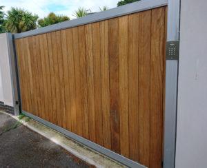 sliding wooden driveway gate